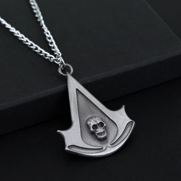 New Fashion Statement Necklace Assassins Creed Necklace Skull Logo Figure Pendant Rope Necklace For Men Cosplay Game Accessories