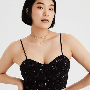 AE Cropped Corset Top, Black
