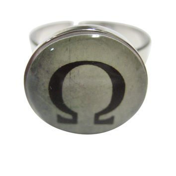 Mathematical Greek Omega Symbol Adjustable Size Fashion Ring