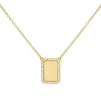 Pave Rectangle Necklace