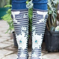 Joules Grey Peony Striped Rain Boots
