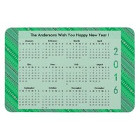 Green Pattern Design 2016 Yearly Calendar Rectangular Photo Magnet