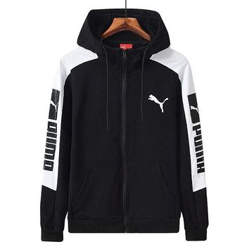 PUMA sportswear autumn sport knit hoodie loose breathable cardigan jacket