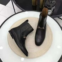 GUCCI  Trending Men Women's Black Leather Side Zip Lace-up Ankle Boots Shoes High Boots