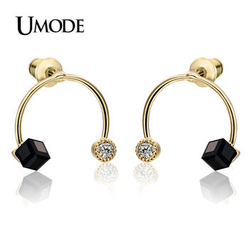 UMODE Semicircle Shaped Austrian Cubic Black Crystal Clear Rhinestone Gold-color Post Stud Earrings Jewelry for Women UE0178A