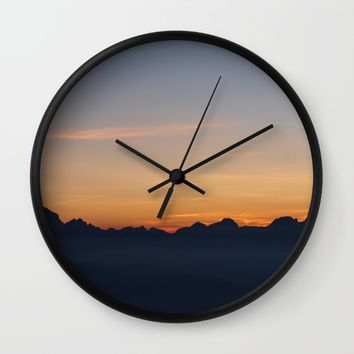 Mountain Range Silhouette Wall Clock by Mixed Imagery