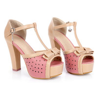 ROMWE Bowknot Hollow Buckled Pink High Heels