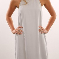Casual White Patchwork Studded Irregular Backless Halter Neck Skater Mini Dress