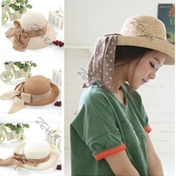 LMF78W NEW Elegance Women Big Bowknot Straw Hat Derby Panama Cap Beach Fedora 4 Colors