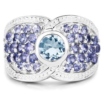 A Natural 1CT Baby Blue Round Cut Bezel Set Aquamarine Tanzanite Accent Ring