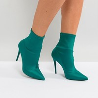 ALDO Cirelle Pull On Sock Boot in Emerald Green at asos.com