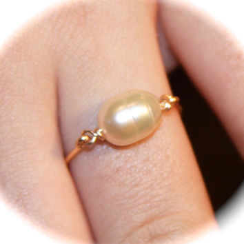 Large Pearl 14K Gold Filled Ring, Knuckle Ring, Gold Thin Ring, Tiny Ring, Stacking Ring, Gold Stacking Ring