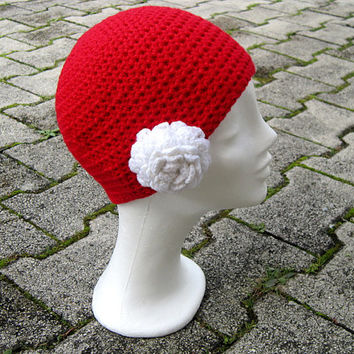 Flower beanie, women hat crochet,Interchangeable flowers,red hat crochet,girls beanie,red chunky hat,beanie with flower,red winter women hat