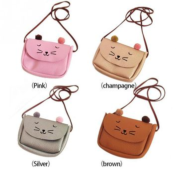 NEW 2016 Cartoon Cat Shoulder Messenger Bag Women Kids Single-Shoulder Bag Snack Bag *35