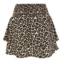Shirred Tiered Leopard Mini Skirt