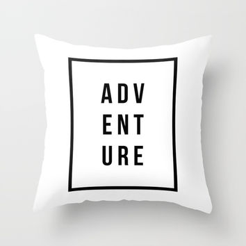 ADVENTURE Black+White Minimal Modern Throw Pillow by Inspire Your Art