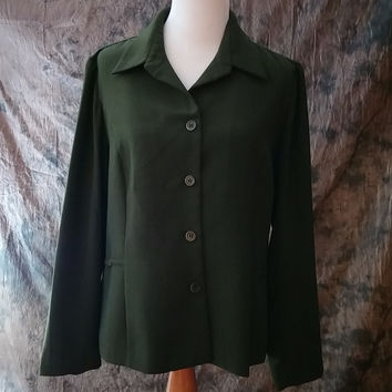 Studio I Jacket Size 18 Career Top Women's Olive Green  Short Sleeve Blouse