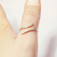 Hammered Thumb Ring - unique ring - wire wrapped ring - bohemian jewelry