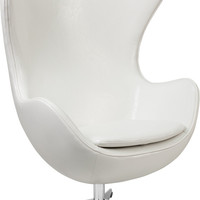 White Leather Egg Chair