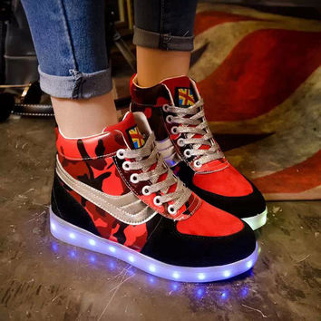 Winter Noctilucent High-top Round-toe Flat Lightning Multi-color Shoes [6734579015]