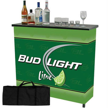 Bud Light Lime Metal 2 Shelf Portable Bar Table w- Case