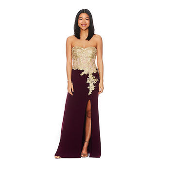 Juniors Blondie Nites Applique Strapless Slim Dress