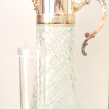 Vintage Crystal and Silver Plated Claret Jug/Decanter. Godinger,Italy. Cut Glass,Diamond Pattern,Wedding Gift,House Warming Gift