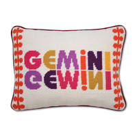 Jonathan Adler Gemini Zodiac Needlepoint Throw Pillow