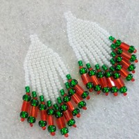 long pearly white with green and red dangles beaded earrings for pierced ears