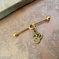 Gold Ohm Om Cartilage Piercing Industrial Barbell Upper Ear Piercing