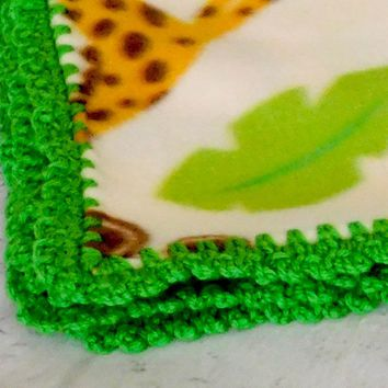 Handmade Crochet Edge Baby Fleece Blanket, Zoo Animals