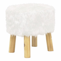 16969 Wood Stool-White-Benzara