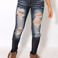 (alx) Super dark stone wash distressed jeans