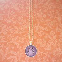 Purple owl round glass dome silver plated necklace for kids, tween or teen girl