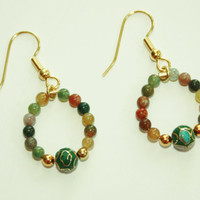 Fancy Jasper and Cloisonne Bead Earrings, Gold Accents, Holidays, Gifts under 20.00, Fashion Jewelry, Green Fashion Accent, For Her