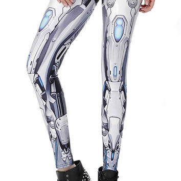 BadAssLeggings Women's Robot Armor Leggings Medium White