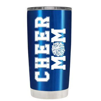 Pom Pom Cheer Mom on Translucent Blue 20 oz Tumbler Cup