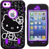 "Hello Kitty Hybrid Case for Apple iPhone 5 Purple High Impact Cute Bow Cover with Screen Protectors & Stylus FREE GIFT HELLO KITTY ""PRINCESS KITTY"" WATERPROOF STICKER INCLUDED"