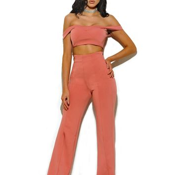 Lalaine Salmon Pink Off Shoulder Two Piece Pantsuit