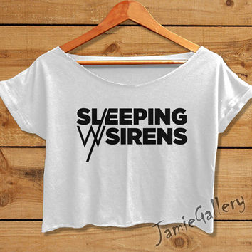 Sleeping With Sirens shirt FEEL crop top tshirt women crop tee black white SWS01JG