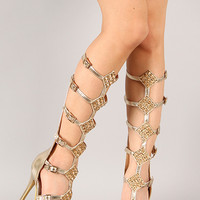 Anya-13 Metallic Rhinestone Embellished Gladiator Knee High Stiletto Heel