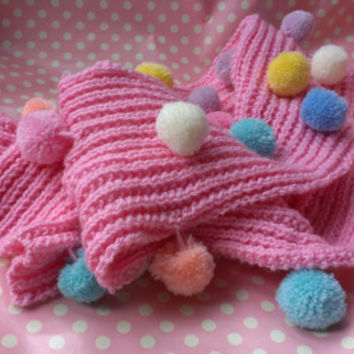 Pink Ladies Hand-Knitted Kawaii Fairy Kei Cute Long Scarf with Multi-Coloured Pom-Poms