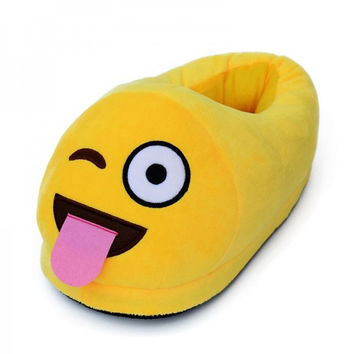 Fashion Winter Cotton Warmer Plush Emoji Smiley Amusing Slippers