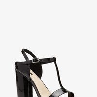 Faux Patent Leather T-Strap Pumps