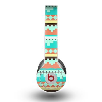 The Teal & Gold Tribal Ethic Geometric Pattern Skin for the Beats by Dre Original Solo-Solo HD Headphones