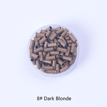 8# dark blonde 2.8mm*2.3mm*7mm copper tubes Micro Rings/links/beads/pipe Hair Extension Tools 1000pcs/lot 7 colors Optional
