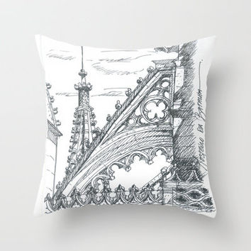 gothic flying butress Throw Pillow by terezadelpilar