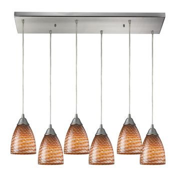 Arco Baleno 6 Light Pendant Satin Nickel Coco Hand Blown Glass