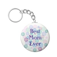Best Mom Ever Watercolor Paint Bubbles Pattern Keychain
