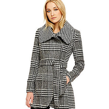 Jessica Simpson Houndstooth & Glen Plaid Wool-Blend Coat - Black/White
